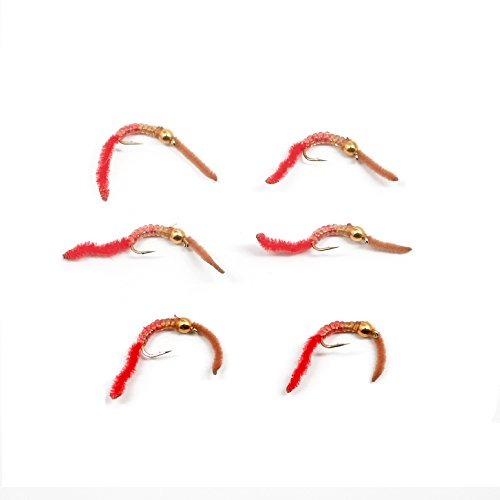 Trout Nymph Fly - San Juan Worm Power Bead 1/2 Dozen Brown/Red #10 - Set of 6 Nymph Wet ()
