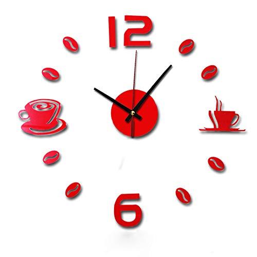 Giulot Coffee Cups Beans 3D DIY Wall Clock Acrylic Stickers Quartz Modern Home Decoration Retro Kitchen Wall Clock Silent Watch Decals Frameless Coffee Drinking Cups Modern Art Wall Clock