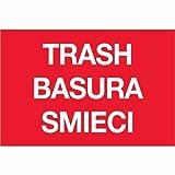 Tape Logic DL1311 Rectangle Labels,Trash/Basura/Smieci, 2'' x 3'', Red/White, 500 Per Roll