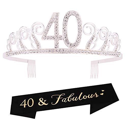 40th Birthday Tiara and Sash 40th Birthday Crown and Sash Tiara and Sash For 40th Birthday Party Supplies(Silver Tiara+Black Sash) ()