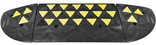 2 Ton Cap (Reflective 15 Ton Rubber Curb Ramp with 2 End Caps 30,000 lbs capacity | 2 Pack)