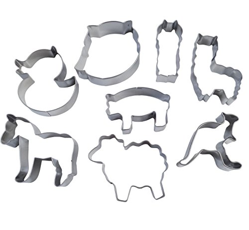 Yunko 8pcs Farm Animals Cartoon Stainless Steel Cookie Cutter Fondant Cutter Cake Decorating Tools Sheep Horse Owl Pig Duck Kangaroo Alpaca by YunKo