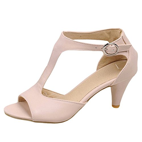 Coolcept Women Casual Cone Heel Sandals Shoes Buckle 517 Pink vARVo7