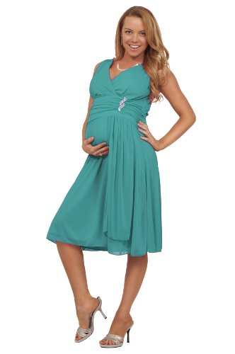 Maternity Formal Chiffon Ruched V Neck Sleeveless Empire Waist Mid Length Dress