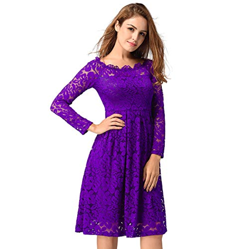 Dress Floral Lace Neck Purple xunma Style for Cocktail Boat Shoulder Party Off Formal Swing Dress BEqxpd