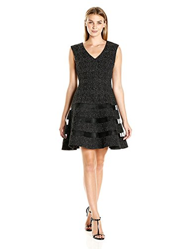 Aidan by Aidan Mattox Women's Stretch Knit Fit and Flare V Neck Cocktail Dress With Cap Sleeve, Black/Silver, 0 by Aidan by Aidan Mattox