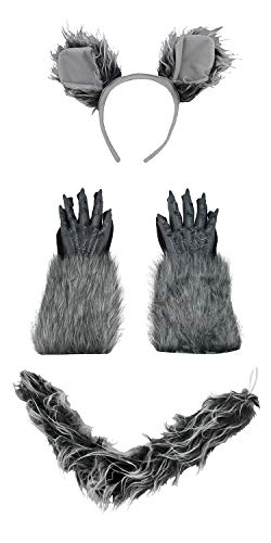 Werewolf Ears Headband Tail Gloves Costume Kit, Grey, One Size -