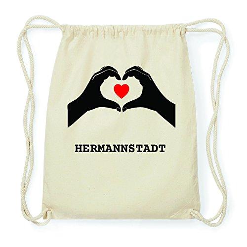 JOllify HERMANNSTADT Hipster Turnbeutel Tasche Rucksack aus Baumwolle - Farbe: natur Design: Hände Herz