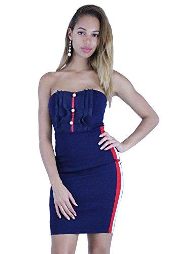 Strapless Ruffle Trim (edgelook Pearl Stud Ruffle Detail Stripe Trim Strapless Mini Dress)