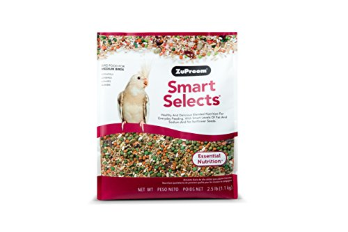 ZuPreem Smart Selects Everyday Feeding Bird Food for Medium Birds | Made in USA for Cockatiels, Quakers, Lovebirds…