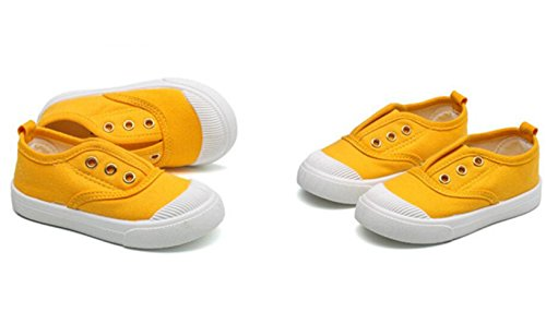 DADAWEN Baby's Boy's Girl's Canvas Light Weight Slip-On Loafer Casual Running Sneakers Yellow US Size 7 M Toddler by DADAWEN (Image #3)