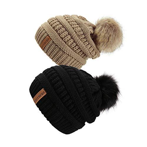 QUEENFUR Women Knit Slouchy Beanie Chunky Baggy Hat with Faux Fur Pompom Winter Soft Warm Ski Cap (2 Pcs Black/Khaki)