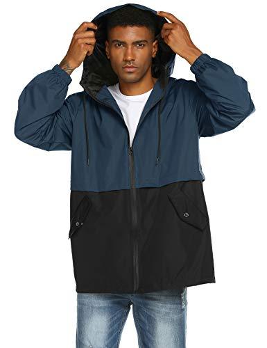 - poriff Men's Lined Hooded Wind Resistant/Water Repellent Windbreaker Rain Jacket Navy Blue L