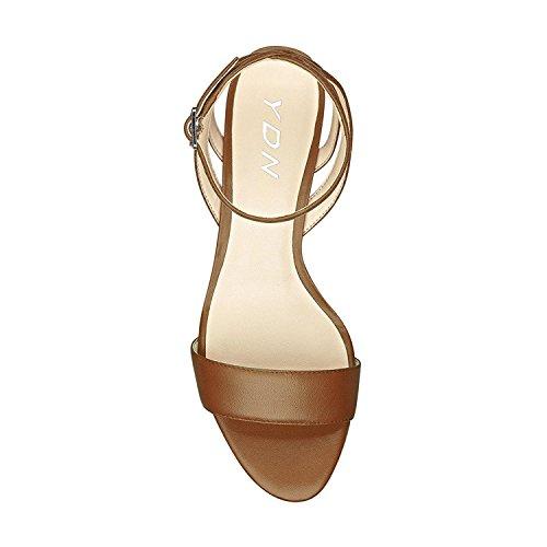 Ydn Vrouwen Open Teen Lage Hak Wedge Sandals Enkelbandjes Slingback Zomerschoenen Bruin