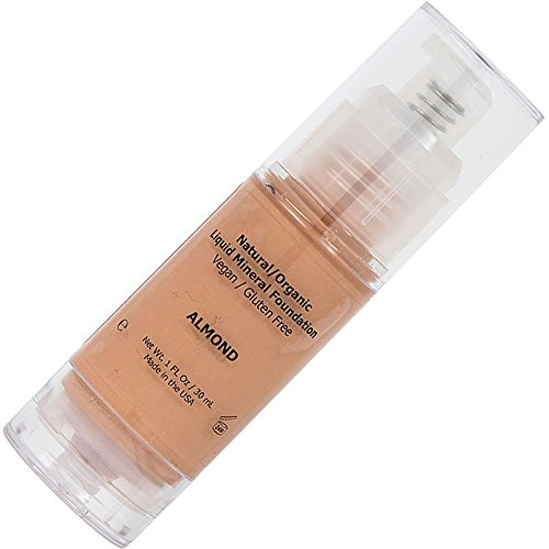 Foundation Makeup Full Coverage Liquid Mineral Matte Foundation, Best Cover for Acne, Great for Oily Skin, Organic with Cream Texture, Rewind Aging Skin with Veer Long Lasting Results - Almond