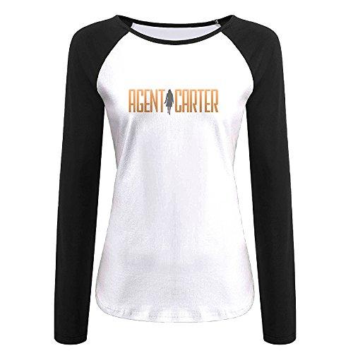 Creamfly Womens Agent Carter Long Sleeve Raglan Baseball Tshirt M