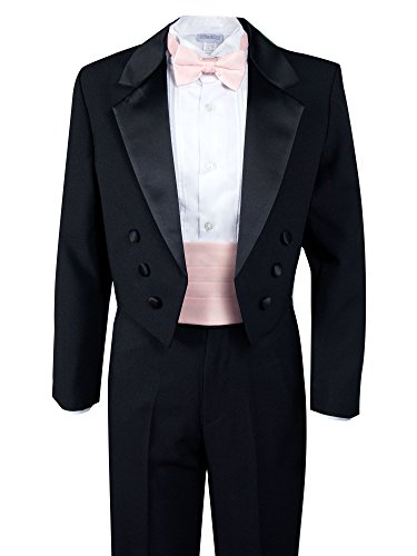 Spring Notion Boys' Black Classic Tuxedo with Tail Blush Pink 6