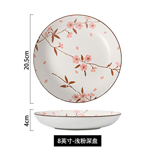 Appetizer Snowflake - XQJDD Underglaze color ceramic tableware dish set household rice bowl noodle bowl creative snowflake porcelain dish set rice plate 20.5x4cm