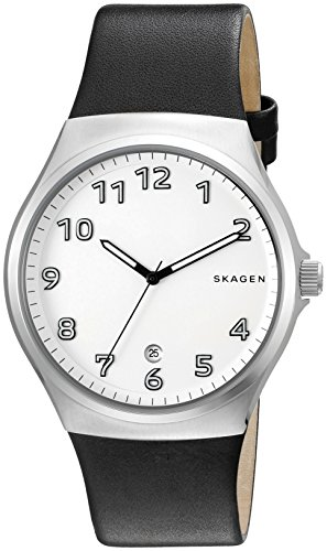Skagen-Mens-Sundby-Quartz-Stainless-Steel-and-Black-Leather-Casual-Watch-Model-SKW6268