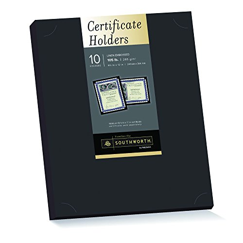 Southworth Black Certificate Holder, 9.5 x 12 inches, 105 lb, Linen Finish, 10 Count ()