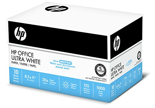 HP Paper, Office Ultra White, 20lb, 8.5 x 11, Letter, 92 Bright, 5,000 Sheets / 10 Ream Case (112101C), Made in the USA