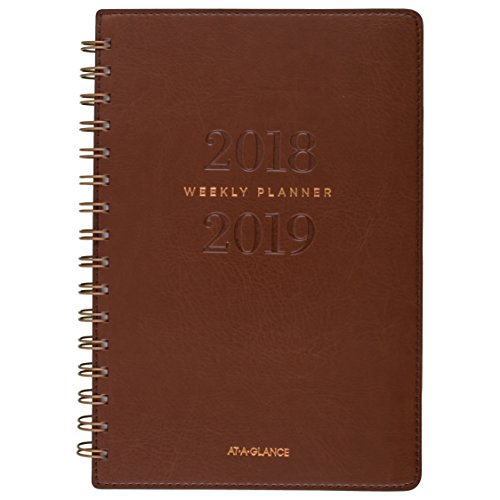 AT-A-GLANCE 2018-2019 Academic Year Weekly & Monthly Planner, Small, 5-3/4 x 8-1/2, Signature Collection, Brown (YP200A09) ()