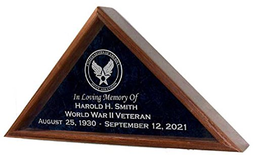 Military Veteran Funeral Flag Display Case w/ Military Emblem - INCLUDES 4 LINES OF TEXT PERSONALIZATION! - for 5'x9.5' coffin / casket flag - Solid Walnut wood (Army Emblem)