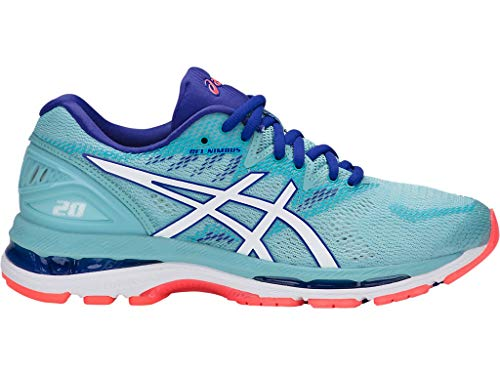 ASICS Women's Gel-Nimbus 20 Running Shoe, porcelain blue/white/asics blue, 10.5 Medium US