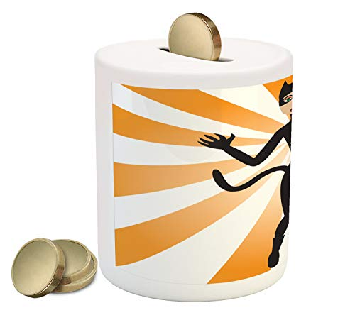 Ambesonne Retro Piggy Bank, Cat Woman Halloween Costume on Starburst Background, Printed Ceramic Coin Bank Money Box for Cash Saving, Pale Orange Ecru Laurel Green Charcoal Grey -