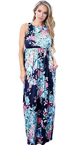 Long Print Bodycon4U Floral Maxi Pocket Racerback Blue Beach Dress Sleeveless Women's SSPwq0