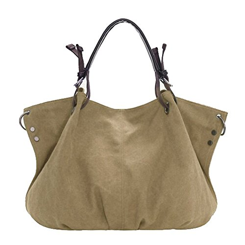 tela-Borse - TOOGOO(R)Spalla Da Donna - tela-Borse della borsa delle signore Crossbody Totes Vintage borsa (Cachi)