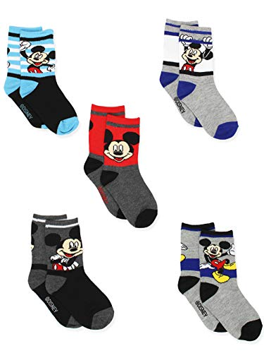 Disney Mickey Mouse Boys Toddler 5 pack Socks Set (4-6 Toddler (Shoe: 7-10), Grey/Black Crew) Disney Mickey Mouse Shoe