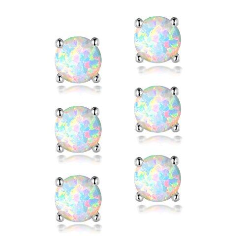 OPALTOP 3 Pairs 4mm White Fire Opal Stud Earrings Hypoallergenic Small Sets for Little Girls Kids White Gold - Piercing Studs Second Earrings