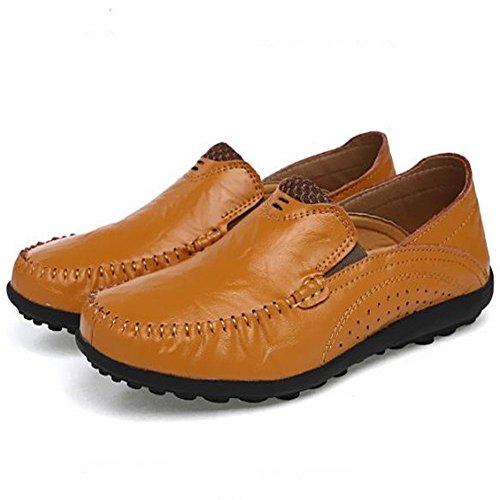Exteriores Transpirables para Zapatos Zapatos Cuero de Hombres Amarillo Zapatos ahuecados Deportivos qnfYxz