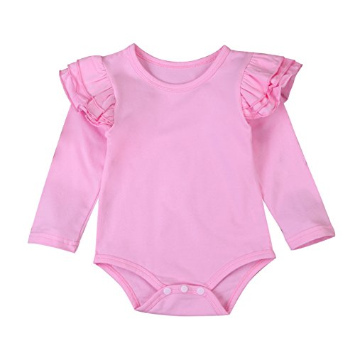 (Minesiry Infant Baby Girl Basic Ruffle Long Sleeve Cotton Romper Bodysuit Tops Clothes (Pink, 18-24 Months))