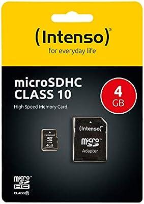 Intenso 3413450 Micro Tarjeta de Memoria SD 4 GB Grado 10 con SD ...
