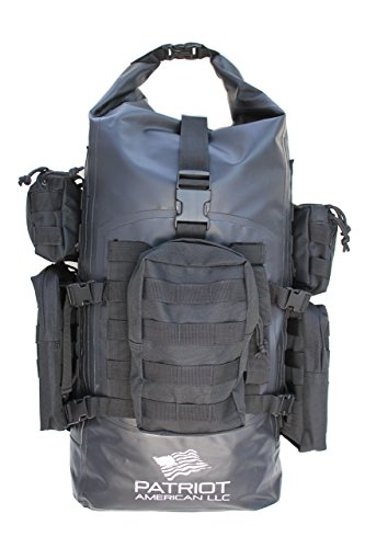Patriot American All Weather 40L 500D PVC Waterproof Molle Backpack with Padded and Breathable Back | Great Bag for Outdoor Camping, Hunting, Hiking, Fishing, Boating Activities| 5 Pouches included by Patriot American LLC