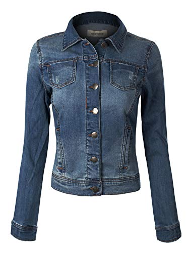 Design by Olivia Women's Classic Denim Jacket Dark Denim - Fur Jeans