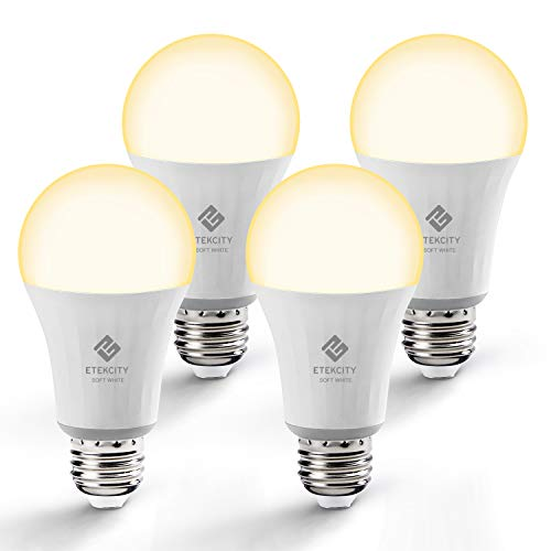 Etekcity Smart Light Bulb, WiFi Dimmable Soft White LED Bulb, A19 E26, Work with Alexa, Google Home and IFTTT, Easy Setup, Schedule, No Hub Required, 60W Equivalent, 2700K, UL Listed (4 Pack)