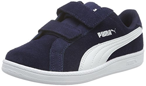 Puma Unisex-Kinder Smash Fun SD V PS Low-Top Blau (PEACOAT-puma White 02)