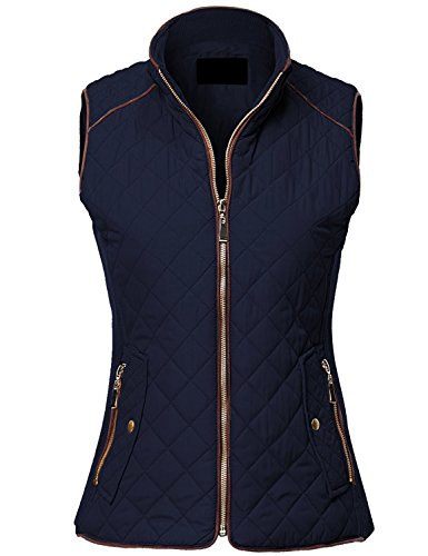 MAYSIX APPAREL Sleeveless Lightweight Zip Up Quilted Padding Vest Jacket For Women DARKNAVY L