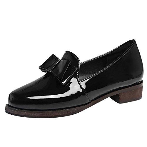 Mee Shoes Damen chunky heels Lackleder Schleife Pumps Schwarz