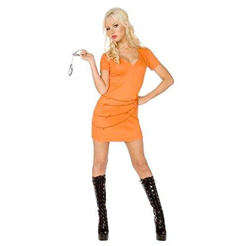 Female Orange Jumpsuit Costume (Womens Prisoner Orange Jumpsuit Costume - Size US 2 - 4 Small)