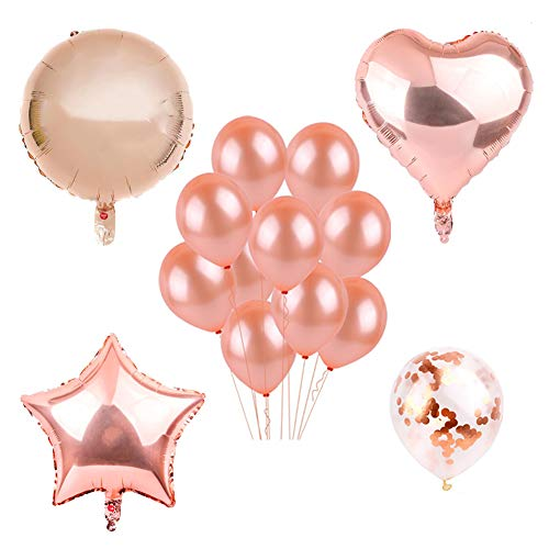 Decorations Balloons Kit Set, Rose Gold Heart Balloons Foil Champagne Balloons Supplies for Merry Christmas | Happy New Year | Birthday Party | Hang on Wall Backdrop | Wedding | Engagement Decorations