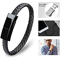 Dzzkoye Charging Cable Bracelet for Men Portable Micro Leather Android Charger USB Wristband (L)