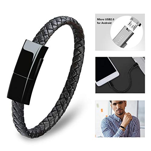 (Dzzkoye Charging Cable Bracelet for Men Portable Micro Leather Android Charger USB Wristband (M))