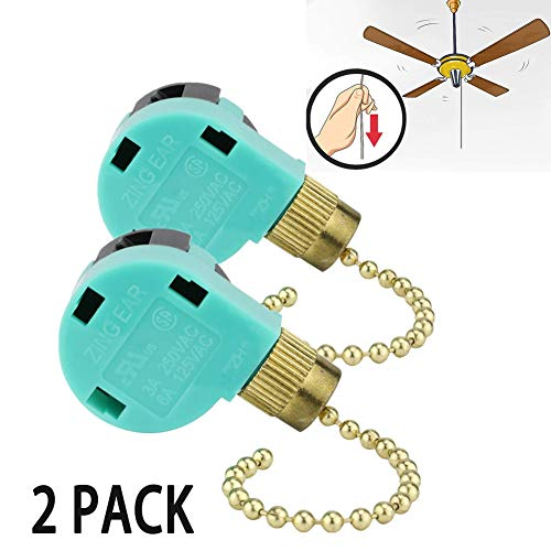 3 Speed Ceiling Fan Switch Zing Ear, Pull Chain Cord Switch,Use for Ceiling Fans, Appliances, Wall Lamps, Cabinet Light, Replacement Speed Control (2 Pack)