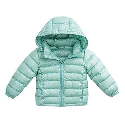 (marc janie Girls Boys' Lightweight Packable Hooded Down Puffer Jacket 24 Months Lake Green)