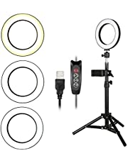 Decdeal 3 Gear Brightness LED Ring Light with Cell Phone Holder Stand for Live Stream Makeup Selfie Recording Lighting Compatible with iPhone Android Smartphones