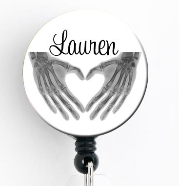 Badge X-ray (Retractable Badge Reel - Heart Hands Xray - Personalized Name - Badge Holder)